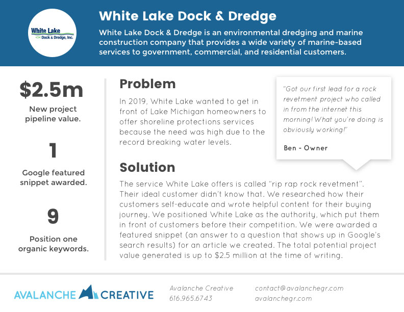 white lake dock and dredge case study