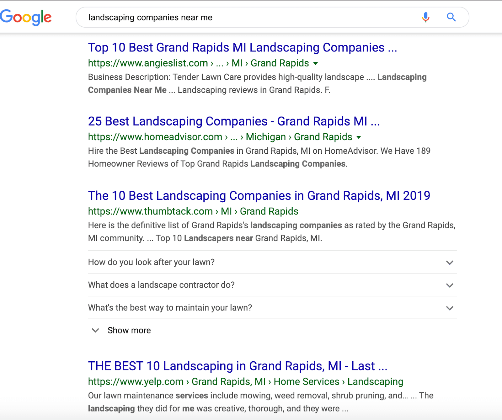 landscaping serp results