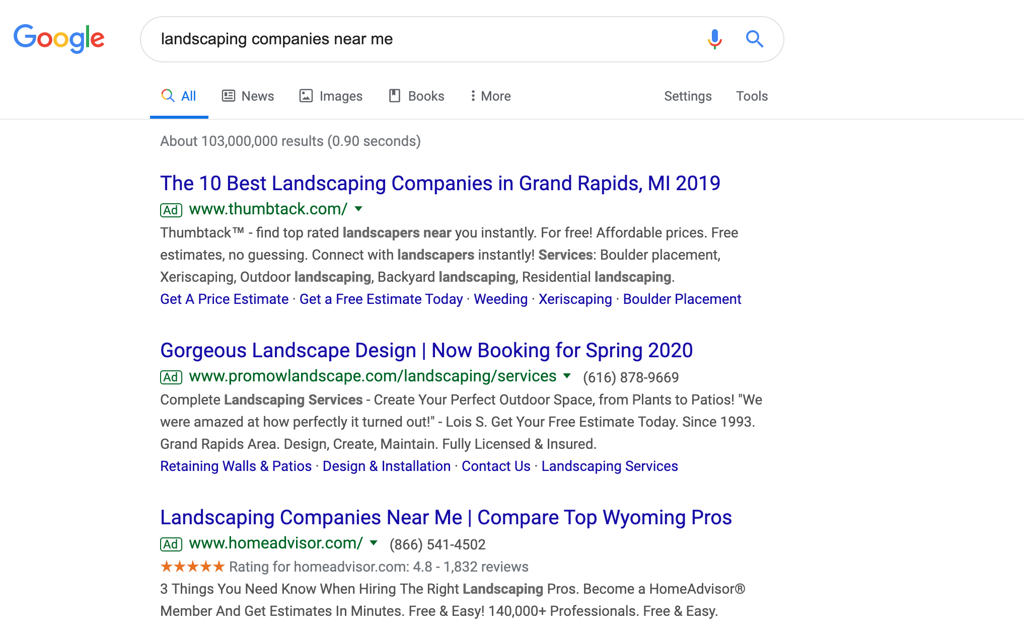 landscaping company near me search engine results page