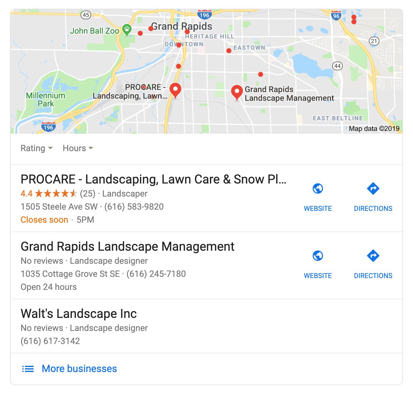 google map pack for landscapers