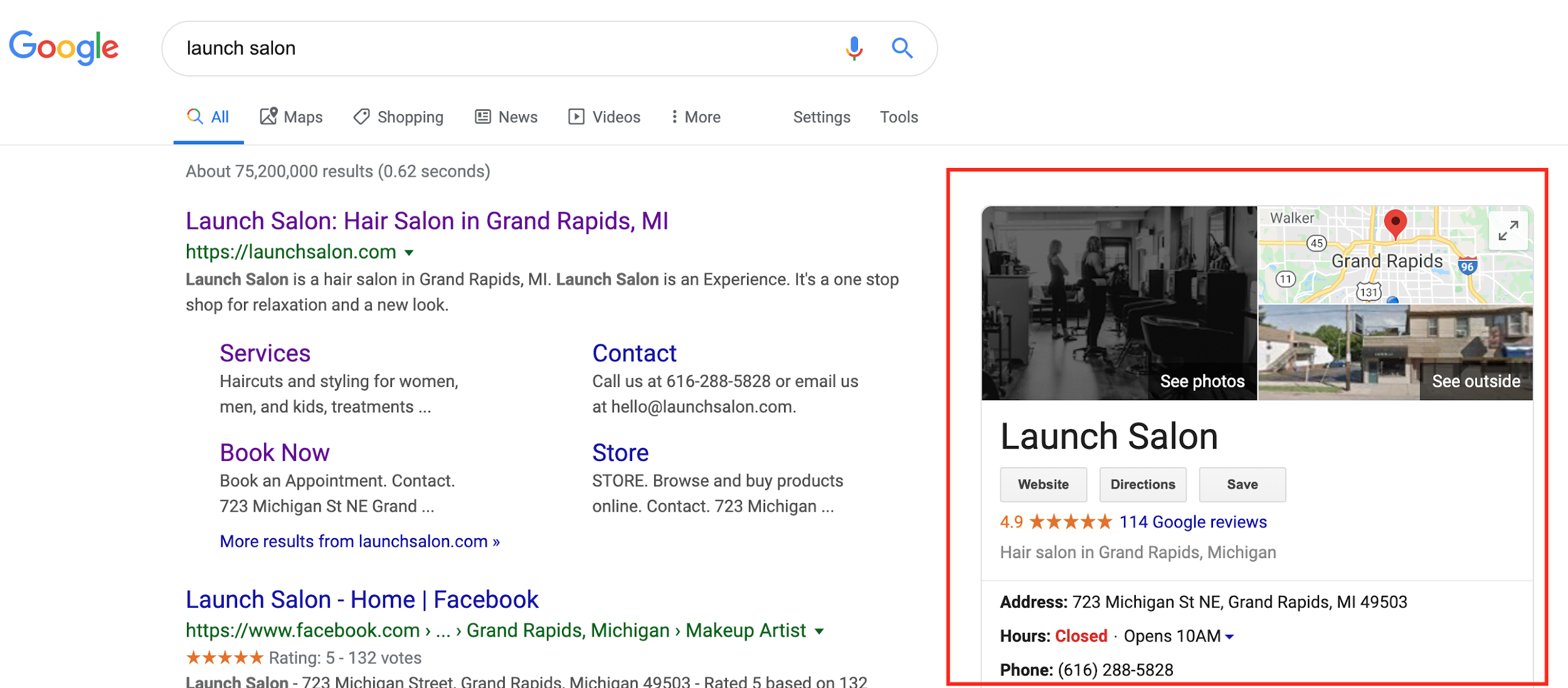 google my business in serps screenshot