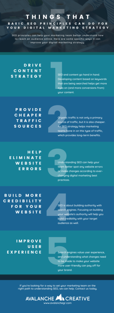 Infographic about 5 Things that Basic SEO Principals can do for Your Digital Marketing Strategy