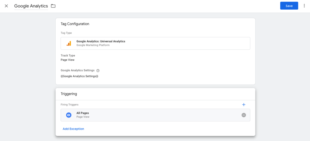 Google Analytics set up in Google Tag Manager