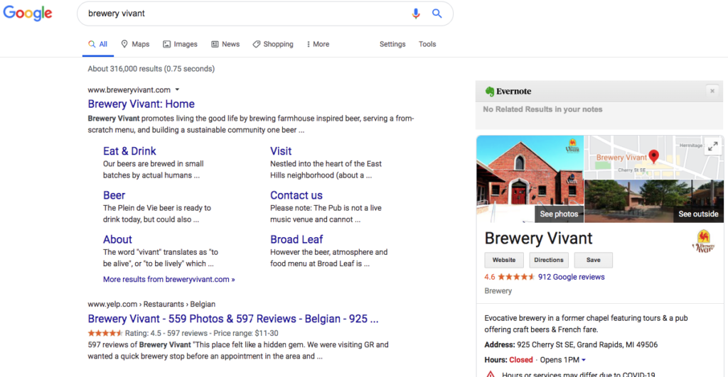serp example screenshot