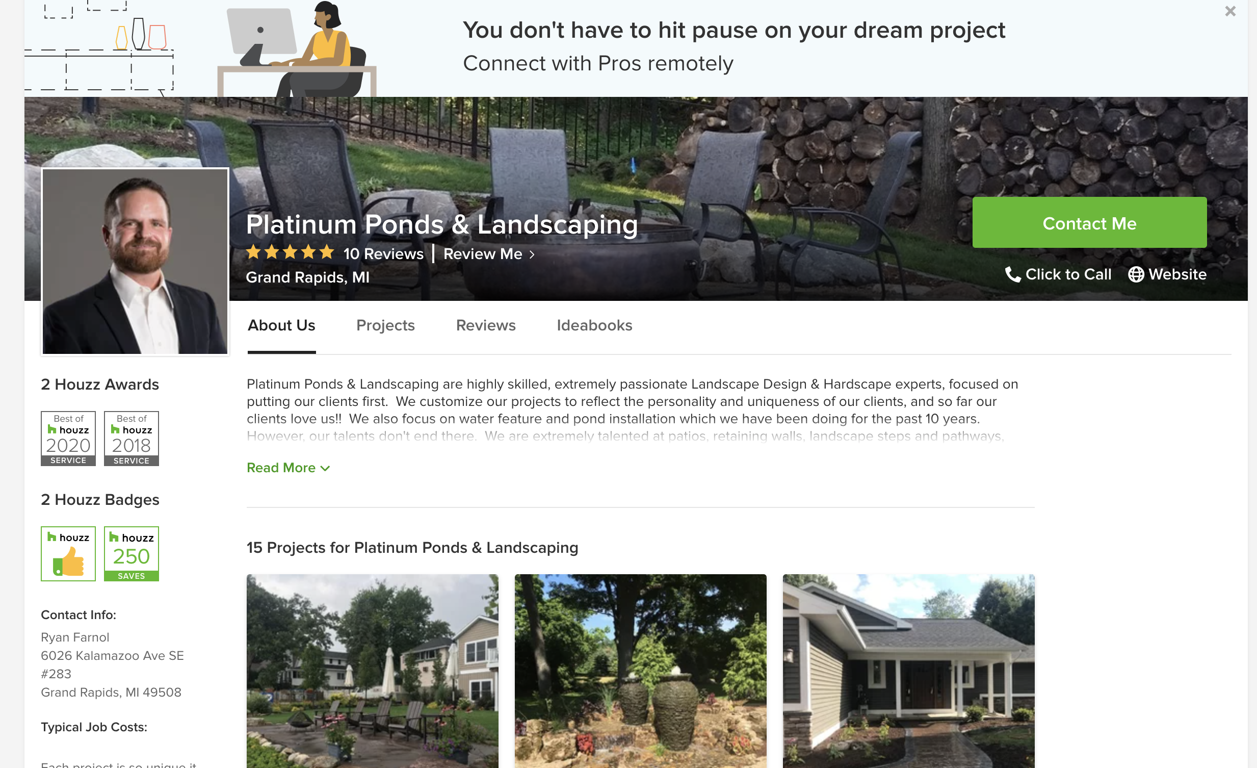 houzz landscaper profile