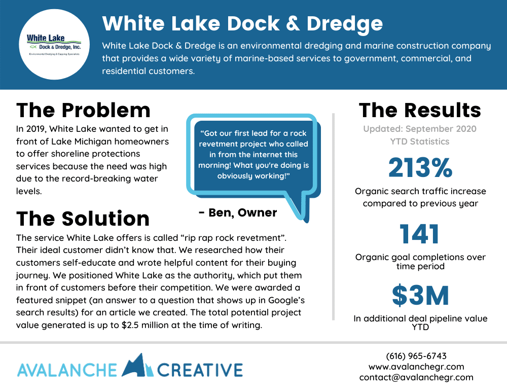 case study white lake dock and dredge