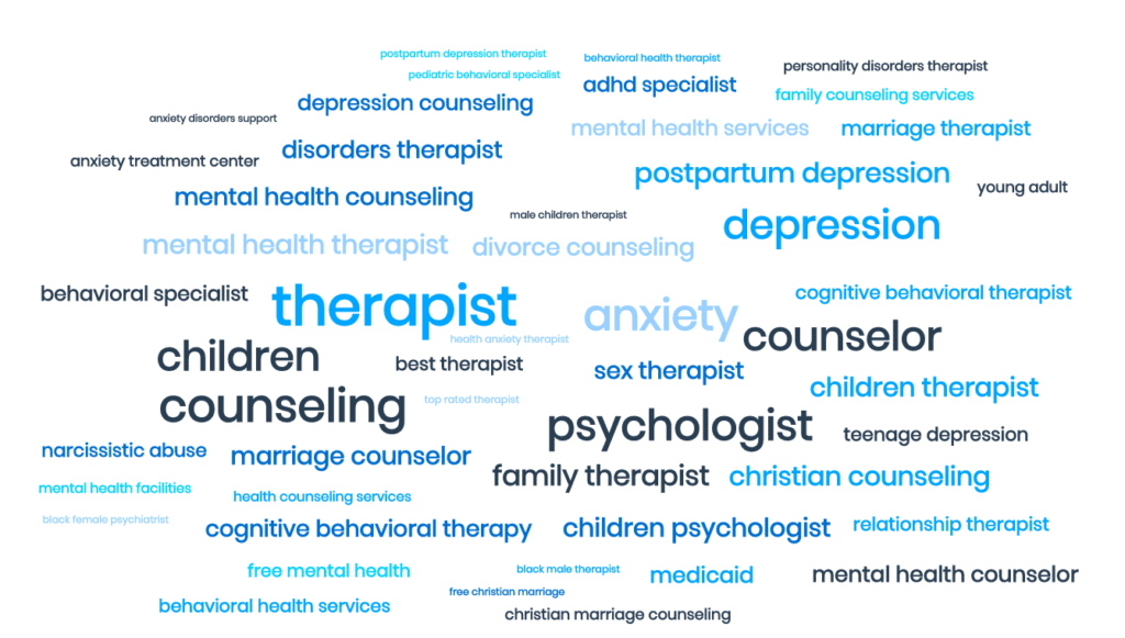 keywords for local therapists and counselors