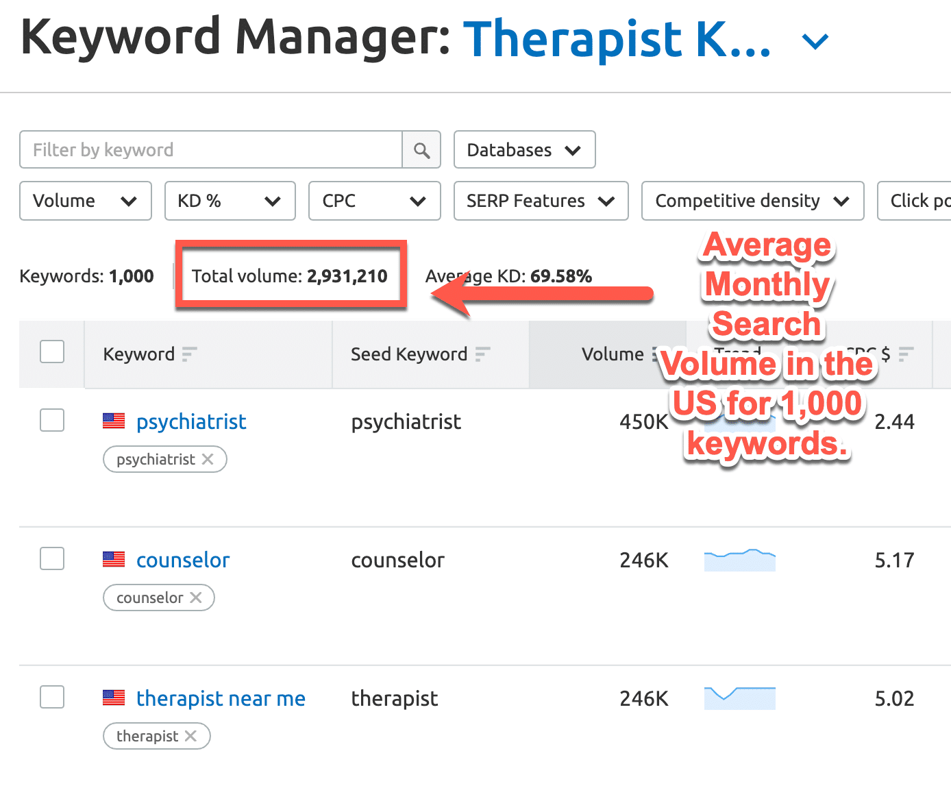 therapist and counselor keywords