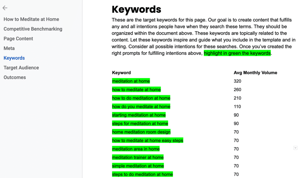 Preview of an SEO Content Template