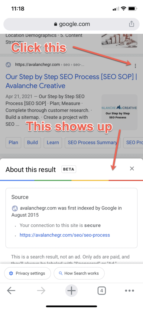 Screenshot of Google's new 'about this result' feature